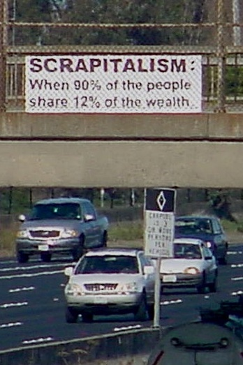 Scrapitalism: When 90% of the people share 13% of the wealth.